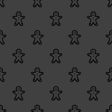 Gingerbread web icon. flat design. Seamless gray pattern. photo