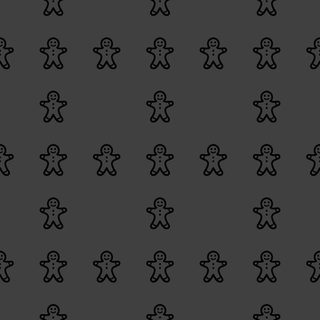 gingerbreadman: Gingerbread web icon. flat design. Seamless gray pattern.