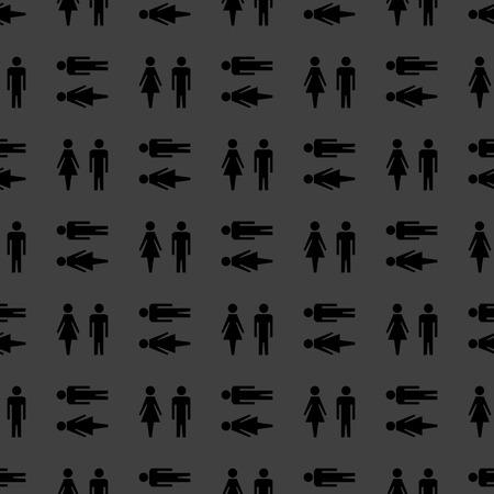 mannen en vrouwen: suluet mannen, vrouwen web pictogram. plat ontwerp. Naadloos grijs patroon. Stockfoto