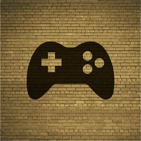Gaming Joystick. Flat modern web button and space for your text. Vector. EPS10 Vector