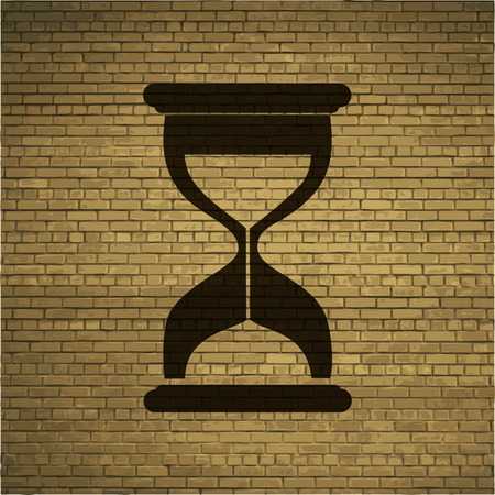 fifteen: Sand clock. Glass timer . Flat modern web button and space for your text. Vector. EPS10