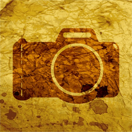 photocamera: Photo camera .Flat modern web button and space for your text. Vector. EPS10 Illustration