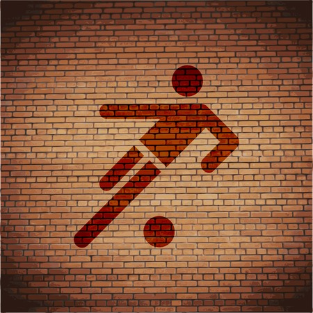 linesman: football player. Flat modern web button and space for your text. Vector. EPS10