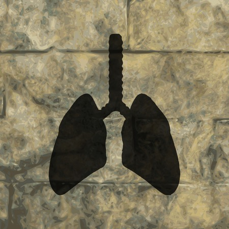 respiratory protection: Human lung. Flat modern web button  and space for your text. Vector. EPS10