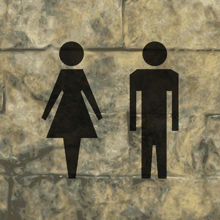 hommes et femmes: les hommes, les femmes suluet. Appartement bouton web moderne et de l'espace pour votre texte. Vector. EPS10 Illustration
