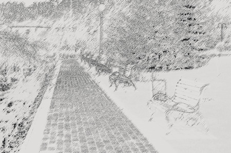 bench in the autumn park. Effect pencil photo
