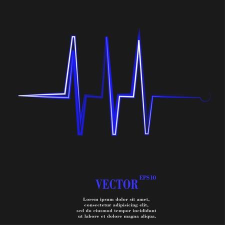 infarctus: le rythme cardiaque. Appartement bouton web moderne et de l'espace pour votre texte. Vector. EPS10