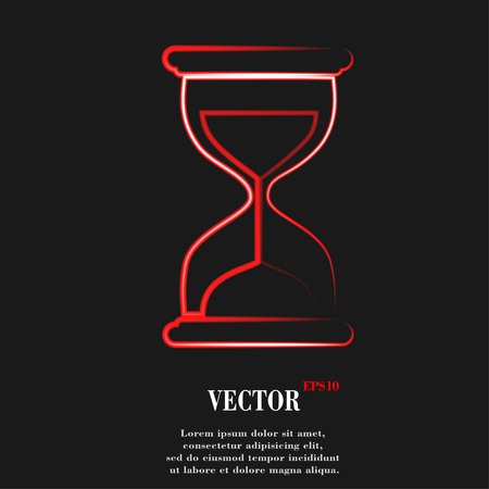 fifteen: Sand clock. Glass timer Flat modern web button and space for your text. Vector. EPS10
