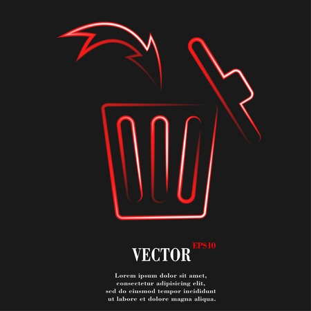 Trash bin. Flat modern web button and space for your text. Vector. EPS10 Vector