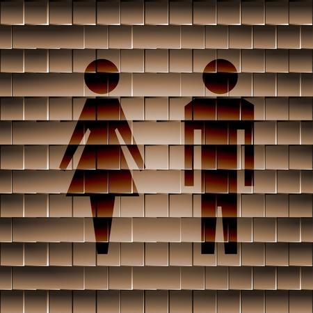 hommes et femmes: les hommes, les femmes suluet plat bouton web moderne et de l'espace pour votre texte. Vector. EPS10