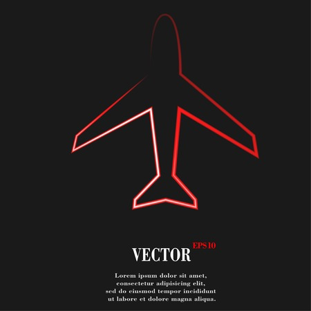 Plane . Flat modern web button and space for your text. Vector. EPS10 Vector