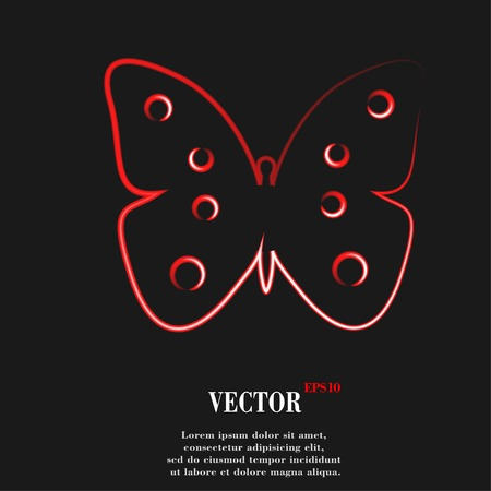 butterfly. Flat modern web button and space for your text. Vector. EPS10 Vector