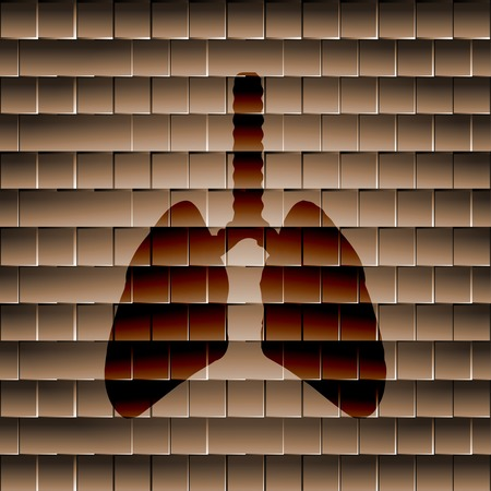 flue: Human lung. Flat modern web button  and space for your text. Vector. EPS10