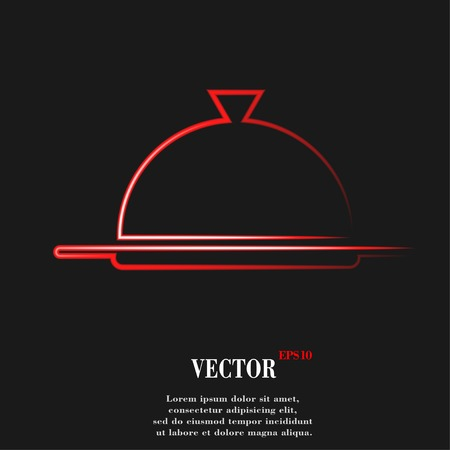 Restaurant cloche. Flat modern web button  and space for your text. Vector. EPS10 Ilustração