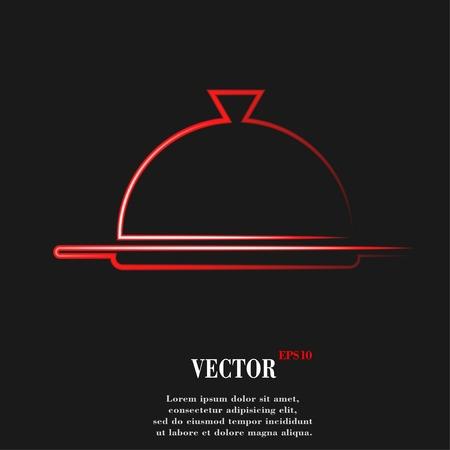 cloche: Restaurant cloche. Flat moderne web-knop en ruimte voor uw tekst. Vector. EPS10 Stock Illustratie