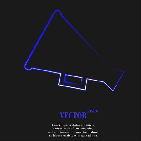 loudhailer: Meg�fono, meg�fono bot�n web moderno plano y en el espacio para el texto. Vector. EPS10