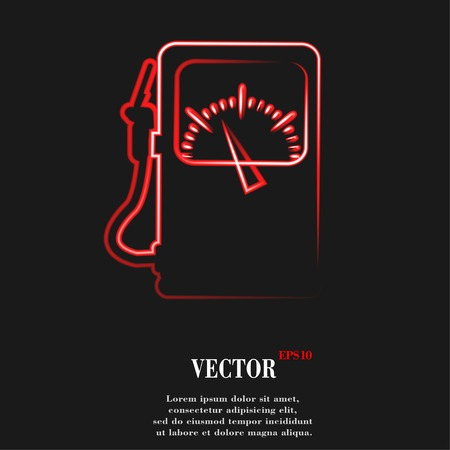 space station: Gas, fuel station Flat modern web button and space for your text. Vector. EPS10 Illustration