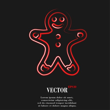 gingerbreadman: Gingerbread. Flat modern web button and space for your text. Vector. EPS10