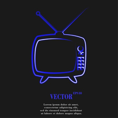 Retro tv. Flat modern web button and space for your text. Vector. EPS10 Vector