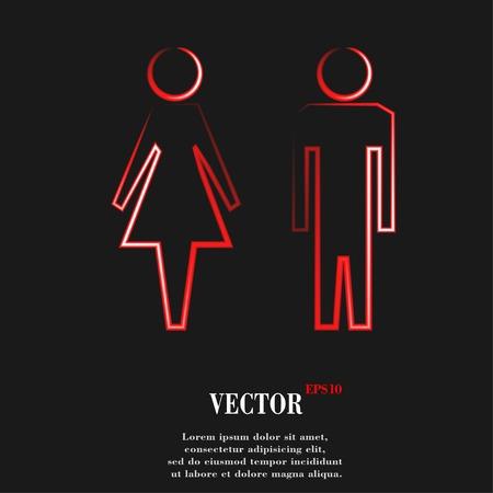 hommes et femmes: hommes suluet, les femmes Flat bouton web moderne et de l'espace pour votre texte. Vector. EPS10