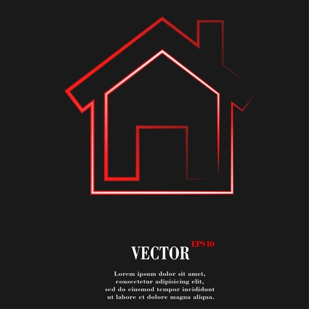 house. Flat modern web button and space for your text. Vector. EPS10 Vector Illustration