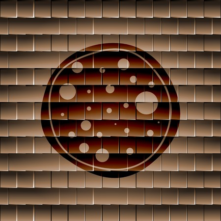 Pizza icon flat design with abstract background. photo