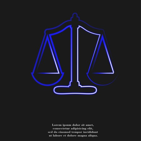 acquittal: Scales balance icon. flat design with abstract background. Stock Photo