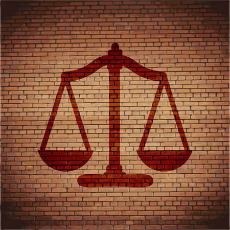 righteousness: Scales balance icon. flat design with abstract background. Stock Photo