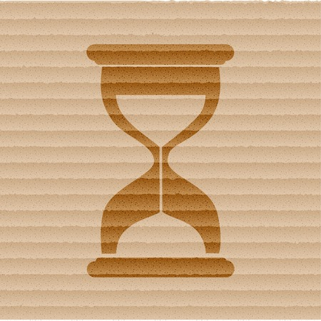 fifteen: Hourglass time icon flat design with abstract background.