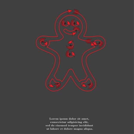 Gingerbread cookies icon Flat with abstract background. photo