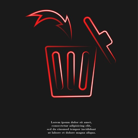 trashcan: Trash bin icon Flat with abstract background.