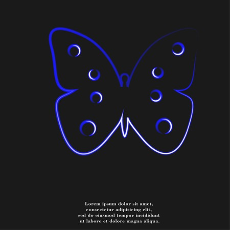 feeler: butterfly icon flat design with abstract background.