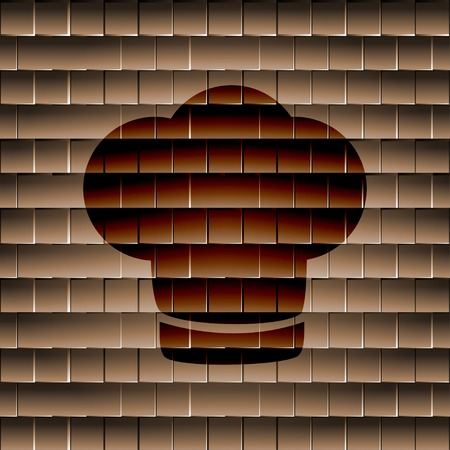 Chef cap icon flat design with abstract background. photo