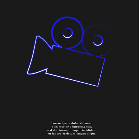 Cinema camera icon flat design with abstract background. photo