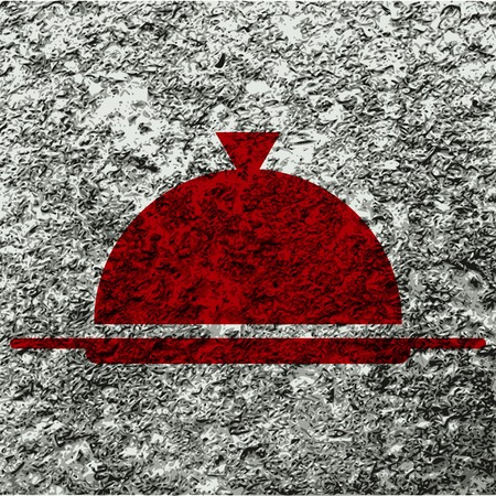 Restaurant cloche icon flat design with abstract background. photo