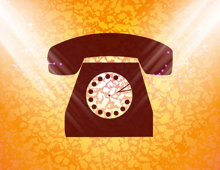 retro phone icon flat design with abstract background. Stock Photo - 29736736