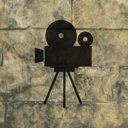 Videocamera icon Flat with abstract background. photo