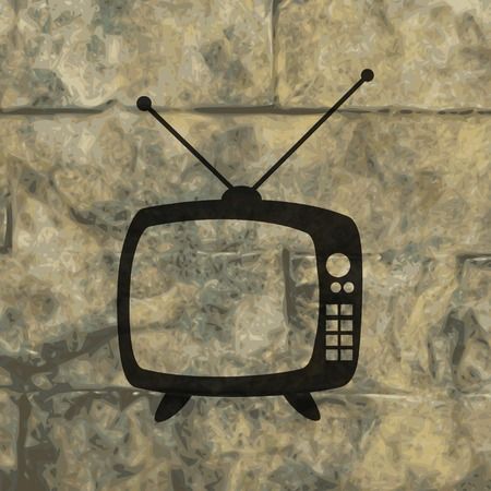tvset: Retro tv. icon Flat with abstract background. Stock Photo