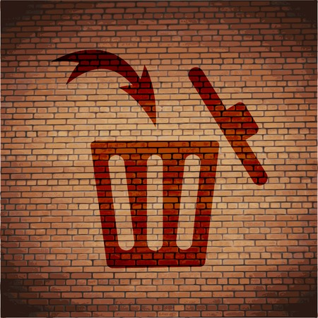 refuse bin: Trash bin icon Flat with abstract background.