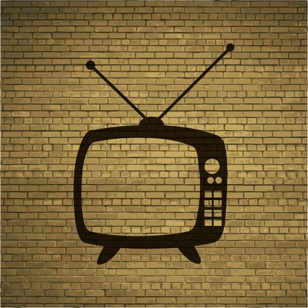 outmoded: Retro tv. icon Flat with abstract background. Stock Photo