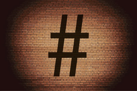 Hashtag Speech icon Flat with abstract background.