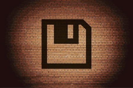 salvaging: floppy disk icon Flat with abstract background. Stock Photo