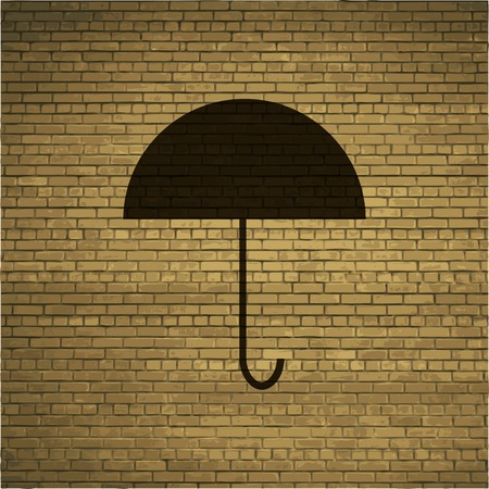 brolly: Umbrella icon Flat with abstract background. Stock Photo