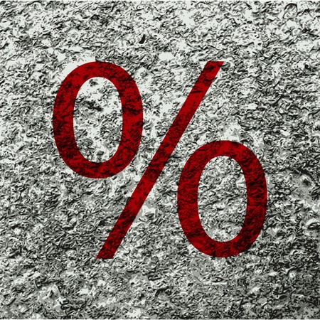 percent icon Flat with abstract background. photo