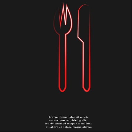 crossed fork over knife icon Flat with abstract background.