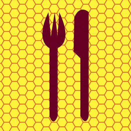 crossed fork over knife icon Flat with abstract background. photo