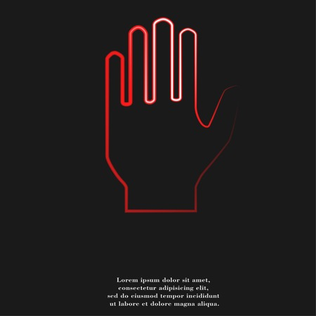 handful: Stop. hand. icon flat design with abstract background.
