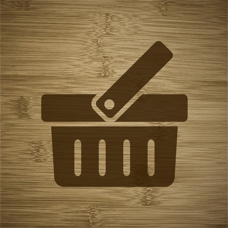 Shopping basket icon Flat with abstract background. photo