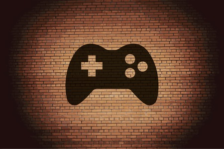 Gaming Joystick icon flat design with abstract background. photo