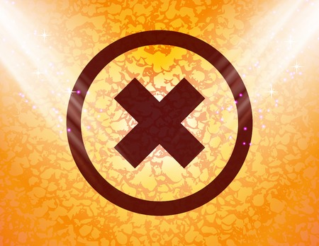 cancel icon flat design with abstract background.